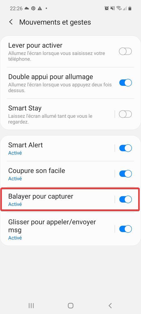 Activer option Balayer pour capturer