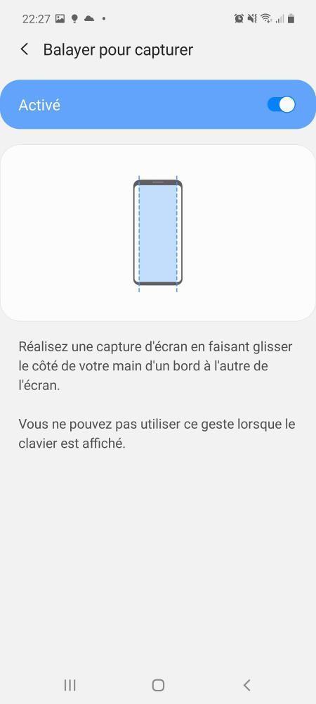 Faire une capture d'écran avec un balayage sur Samsung A51