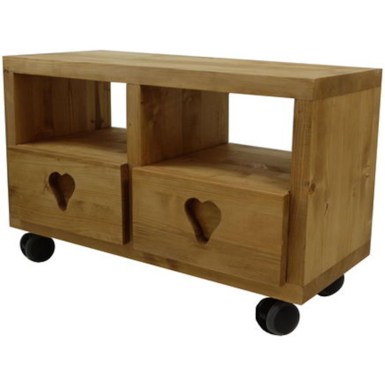meuble tv cube 2 tiroirs coeur 4 roulettes