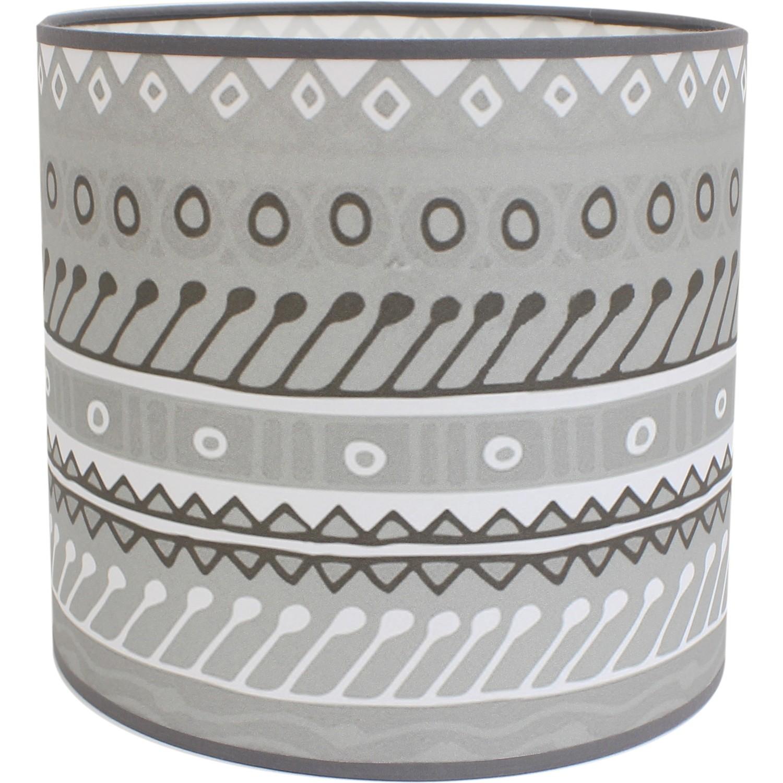abat jour cylindrique motifs gris et blanc