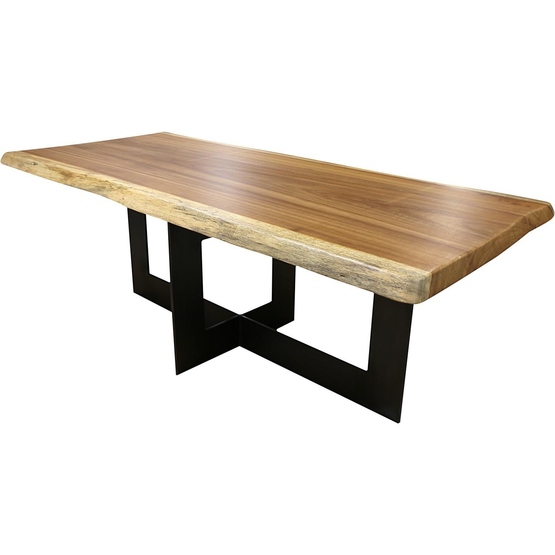 table en irocco massif avec pieds croise acier cenitz