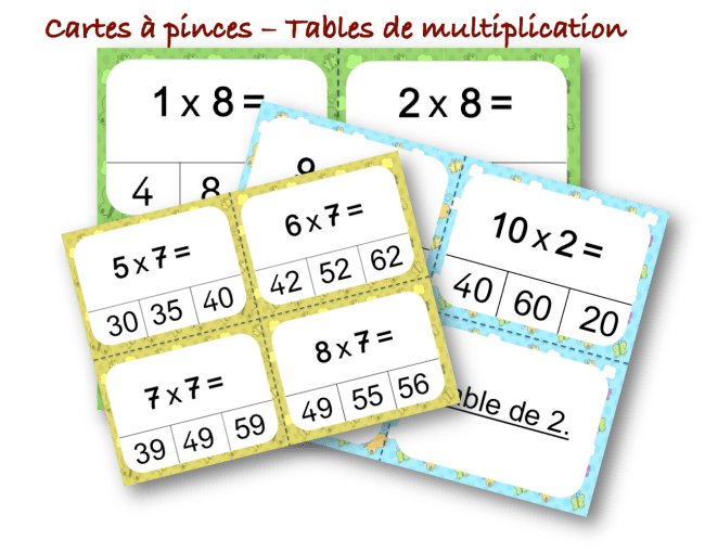cartes a pince tables de multiplication