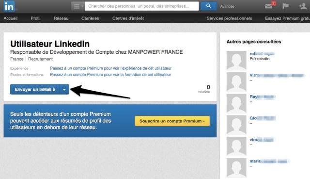 Clic sur Profil caché utilisateur LinkedIn