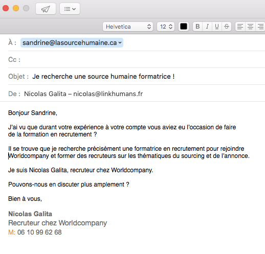 EmailSandrinePersonnel
