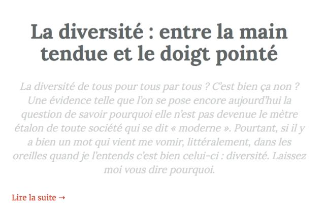 La Diversité Est Une Insulte Inventée Par Des Consultants