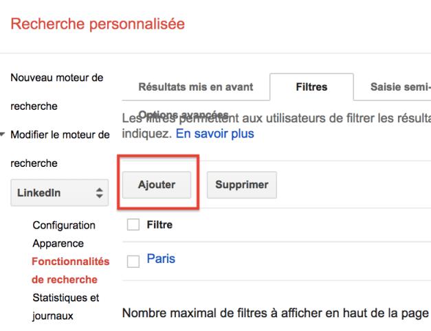 ajouter filtres Google CSE