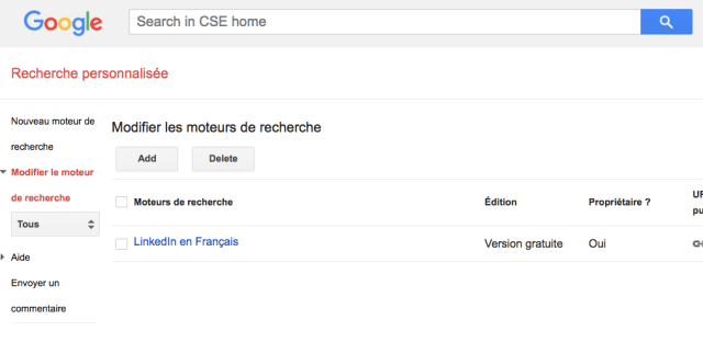 page accueil Google CSE sourcing