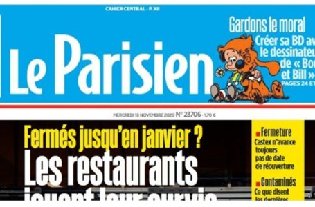 La Une du quotidien Le Parisien du 18 novembre 2020.