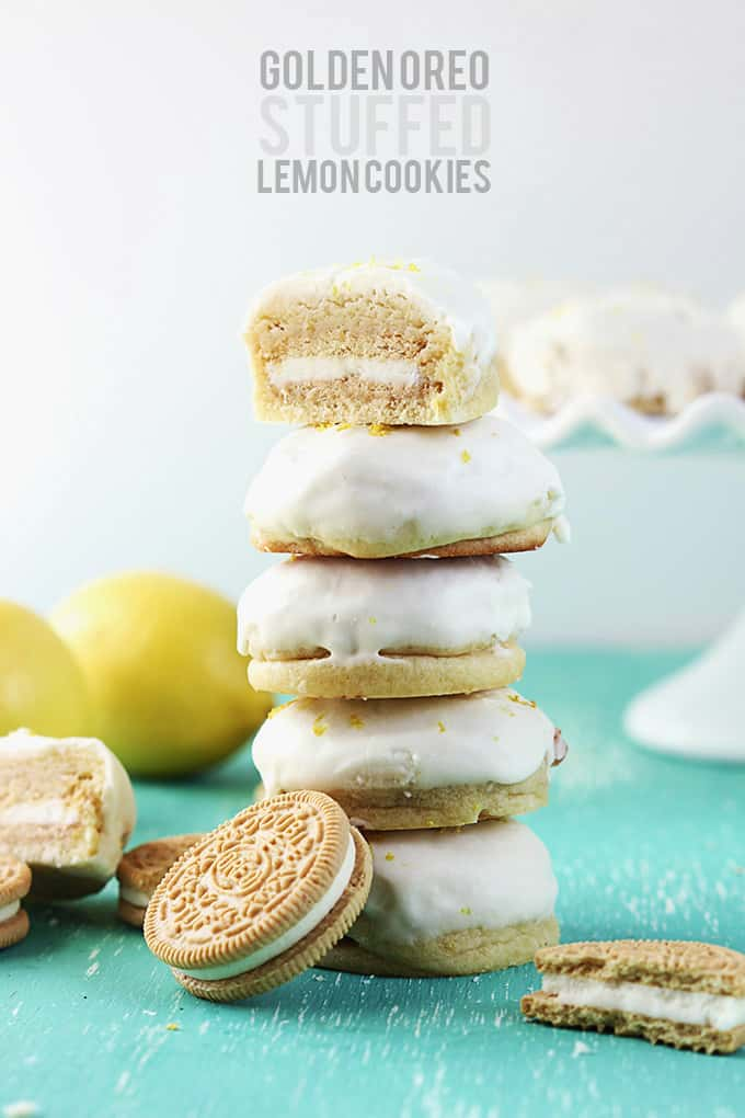 Golden Oreo Stuffed Lemon Cookies