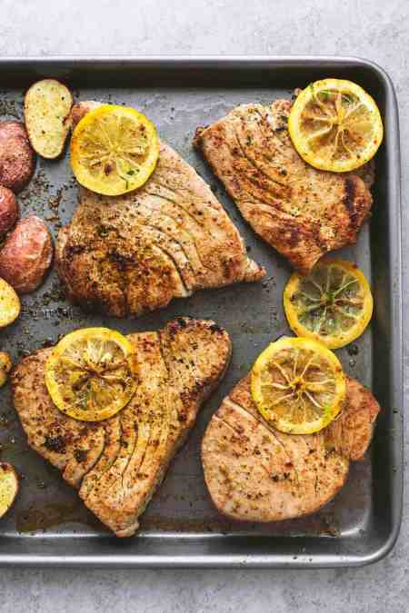 Sheet Pan Lemon Herb Tuna Steaks and Potatoes