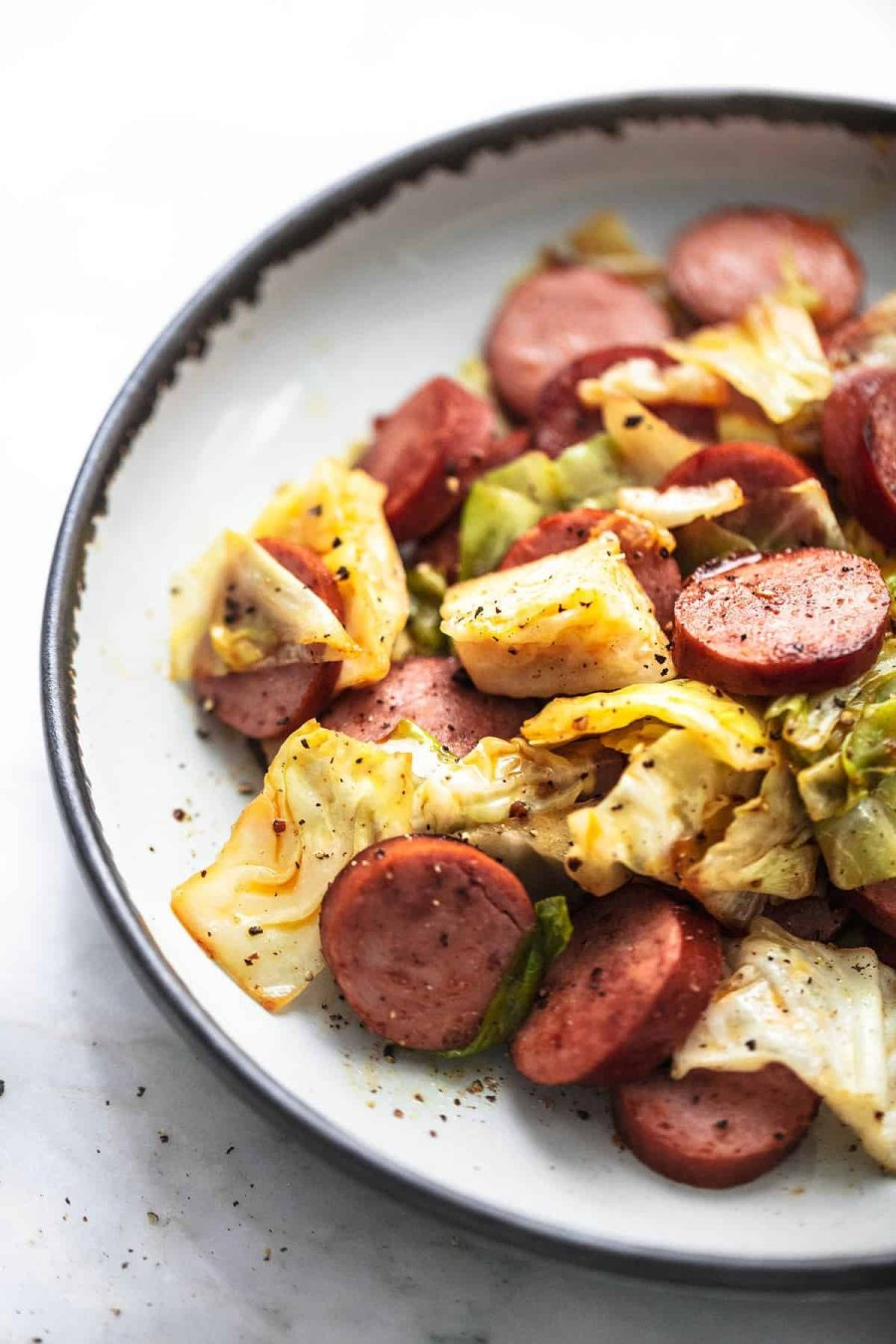 Easy 30-minute Sausage and Cabbage Skillet healthy dinner meal recipe | lecremedelacrumb.com