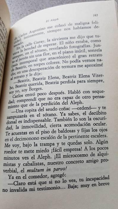 """Fragmento del libro de cuentos de Borges """"El aleph"""""""