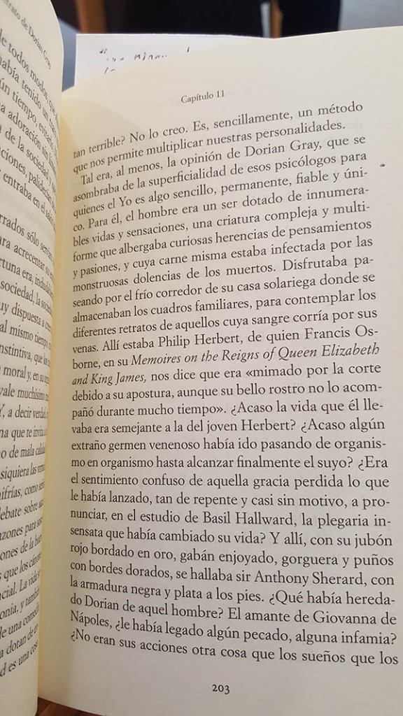 Fragmento de la novela El retrato de Dorian Gray