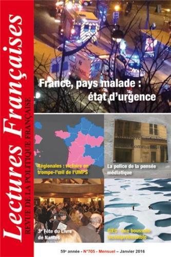 N° 705 – JANVIER 2016 : FRANCE, PAYS MALADE : ÉTAT D'URGENCE