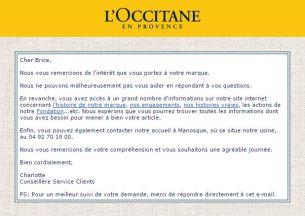 Mail de réponse l'Occitane - Savon de Marseille