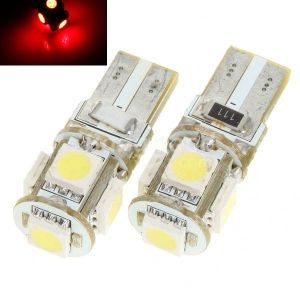 Led auto ROSU T10 5 SMD Canbus W5W