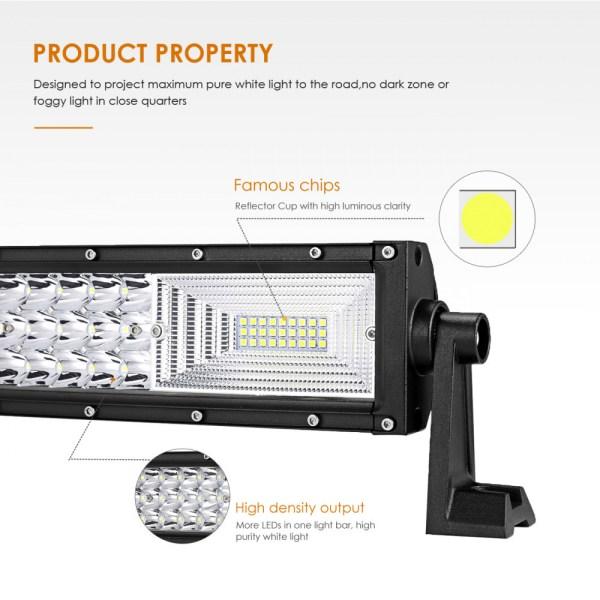 """LED Bar Auto Curbat 324W, leduri pe 3 randuri, 12V-24V, 22680 Lumeni, 21,5""""/54,6 cm, Combo Beam 12/60 Grade PREMIUM"""