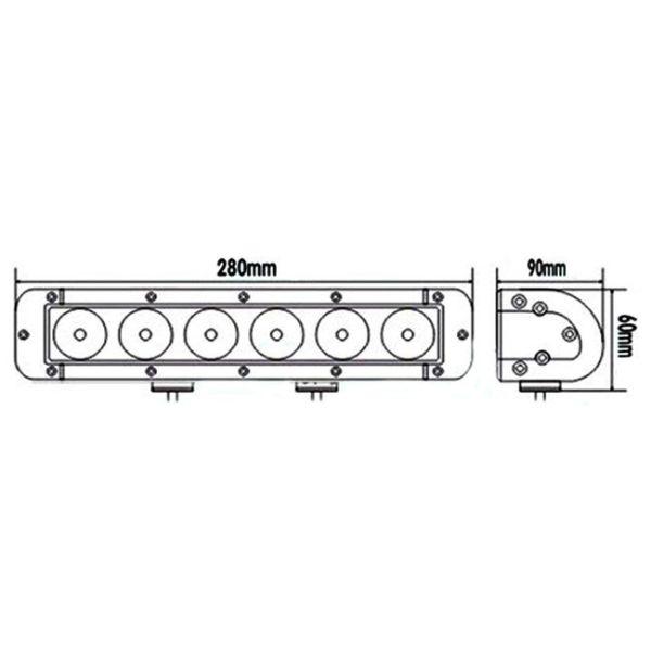 """LED Bar Auto Offroad 60W/12V-24V, 5100 Lumeni, 11""""/28 cm, Spot Beam 12 Grade PREMIUM"""