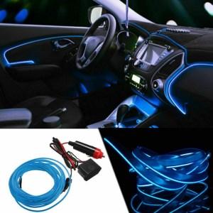 Fir neon auto electroluminiscent El Wire 2m cu lumina Albastra cu droser si mufa bricheta HID
