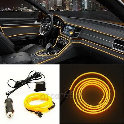 Fir neon auto electroluminiscent El Wire 2m cu lumina Galbena cu droser si mufa bricheta HID