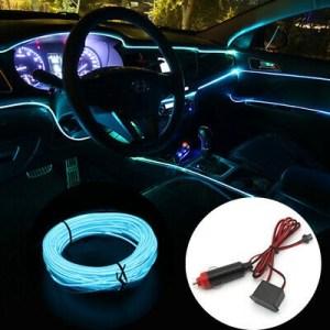 Fir neon auto electroluminiscent El Wire 2m cu lumina Ice Blue cu droser si mufa bricheta HID