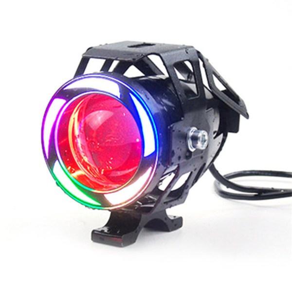 Proiector LED motocicleta, atv, cu 2 faze (faza scurta si faza lunga), functie de stroboscop, angel eyes COB si devil eyes rosu, putere 10W, luminozitate 1000 lumeniPREMIUM