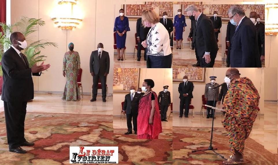 les 5 nouveaux ambassadeurs face à Ouattara avec leurs lettres d'accréditation ledebativoirien.net