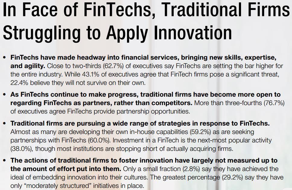 Fintech vs traditional firms (source Cap Gemini, World Fintech Report 2017)