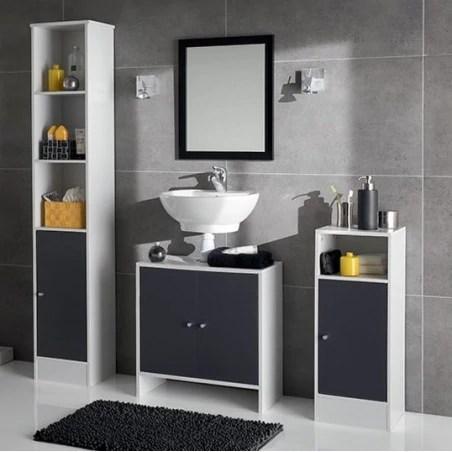 meuble bas salle bain essenzo gris blanc