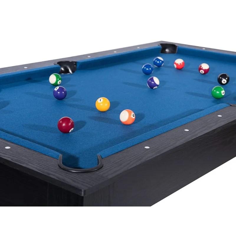billard texas 185 cm noir tapis bleu convertible table salle manger