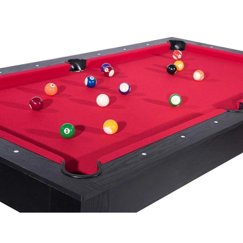 billard texas 185 cm noir tapis rouge convertible table salle manger