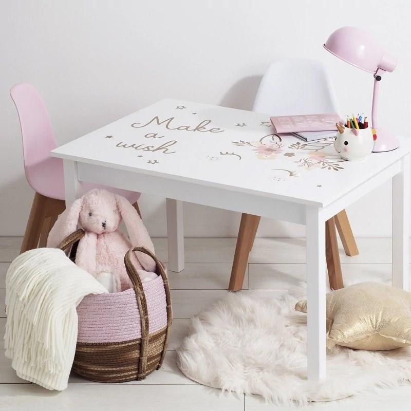 table enfant bois blanc licorne atmosphera