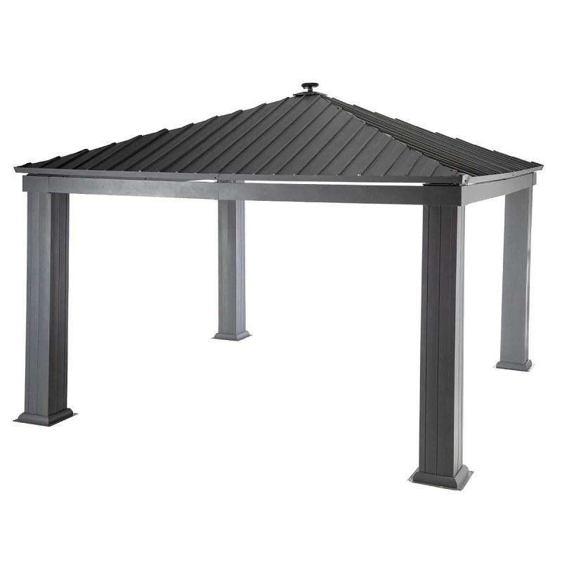 tonnelle patia 4x4 m toit metal hesperide