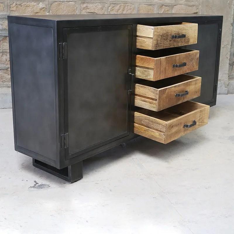 buffet metal et bois jodhpur 2 portes 4 tiroirs
