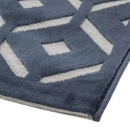tapis rectangulaire relief losange bleu 160x230 atmosphera