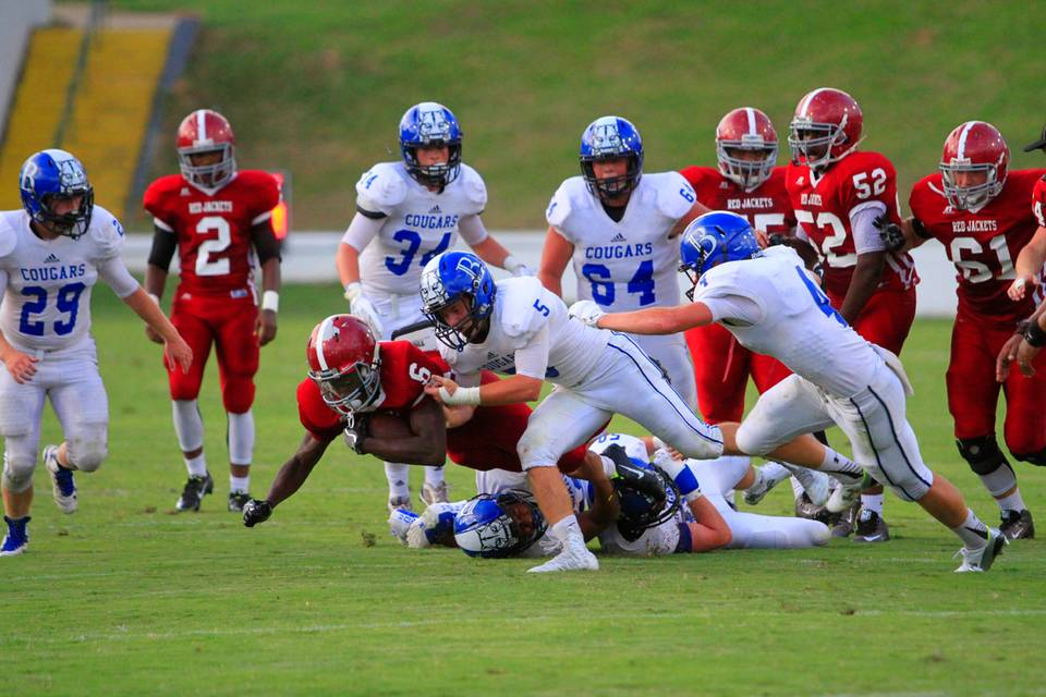 during the first half Friday night at A.J. McClung Memorial Stadium in Columbus.