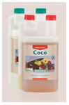 Image of the different bottles that make up the Coco nutrient solution from Canna used for growing plants hydroponically in coco media