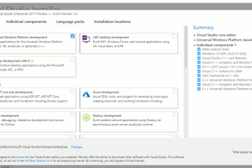 Installation de Visual Studio 15.8 Preview 1