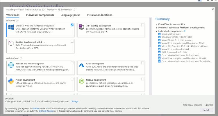 Installation de Visual Studio 15.8 Preview 1