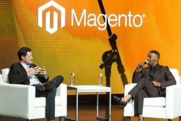 Mark Lavelle, CEO de Magento, avec Jamie Foxx lors de la conférence Magento Imagine 2018
