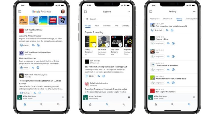 Application Google Podcasts pour Android et iOS