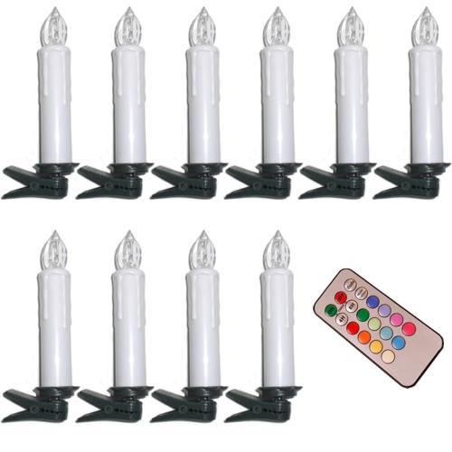 10 Stück RGB LED Weihnachtskerzen