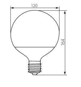 Abmessungen LED Globe Birne G120 15W