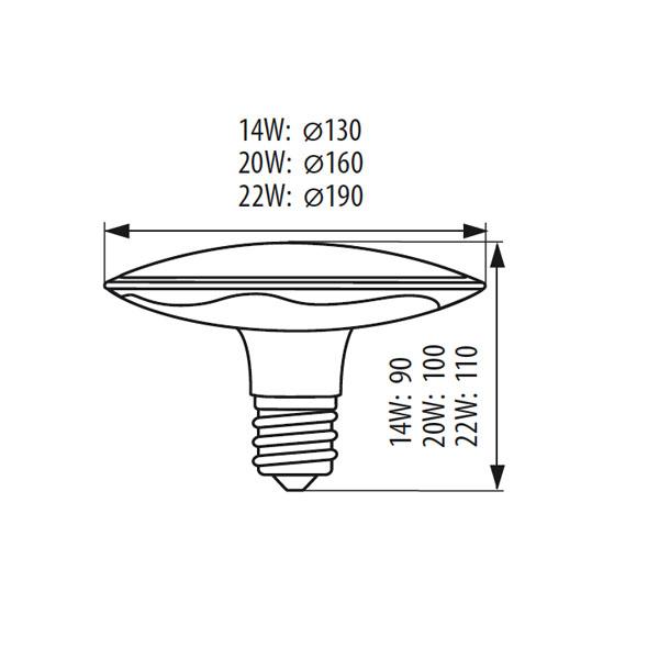 Abmessungen LED Deckenleuchte NIFO