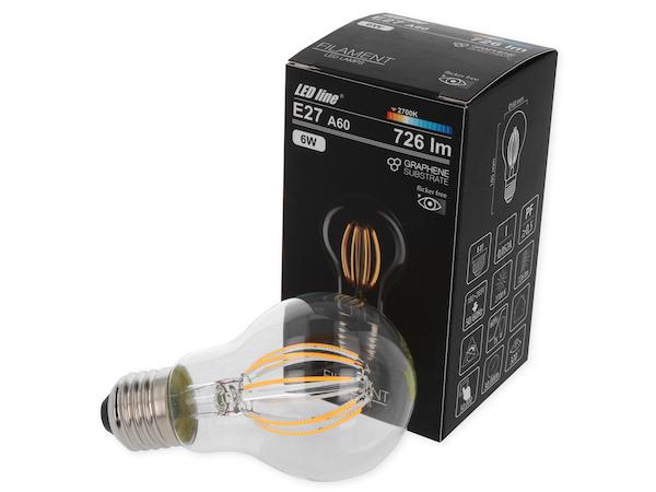 6W E27 LED Birne Filament 726 Lumen 2700 Kelvin