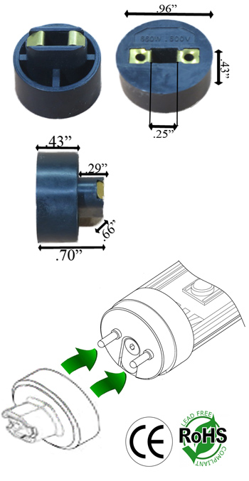 R17d 600v 660w Converter Adapter Black Pair Converters