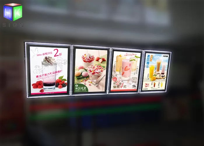 indoor crystal frame movie poster display box free standing 6mm thcikness