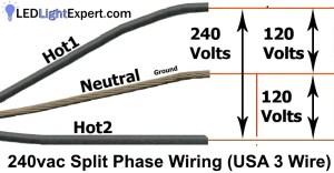 240 Volt 3 wire (split phase) Ballast Bypass Wiring