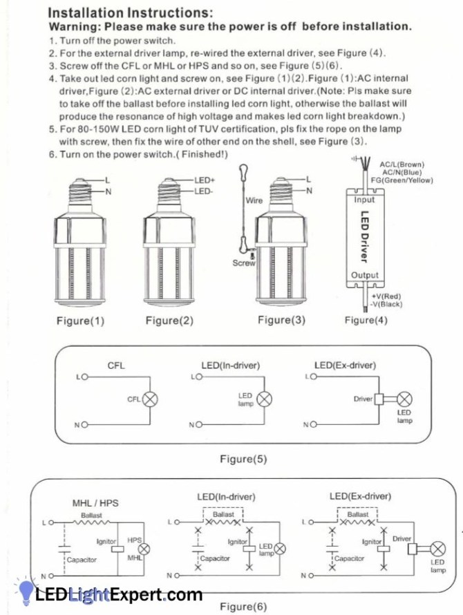 corn light wiring instructions with ballast bypass diagrams