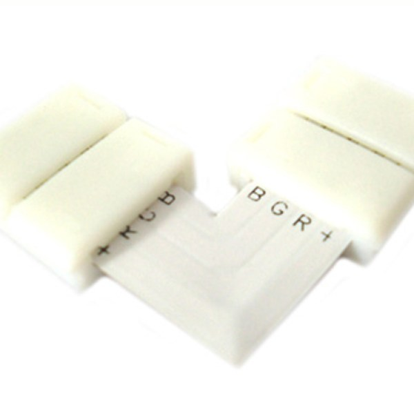 4 PZ Connettore Passo 10mm RGB Forma L per Allungare e Curvare Strip Led RGB e Mono Colore